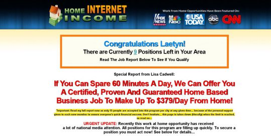 Home Internet Income Scam