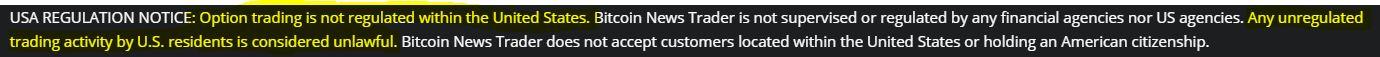 Bitcoin News Trader Disclaimer