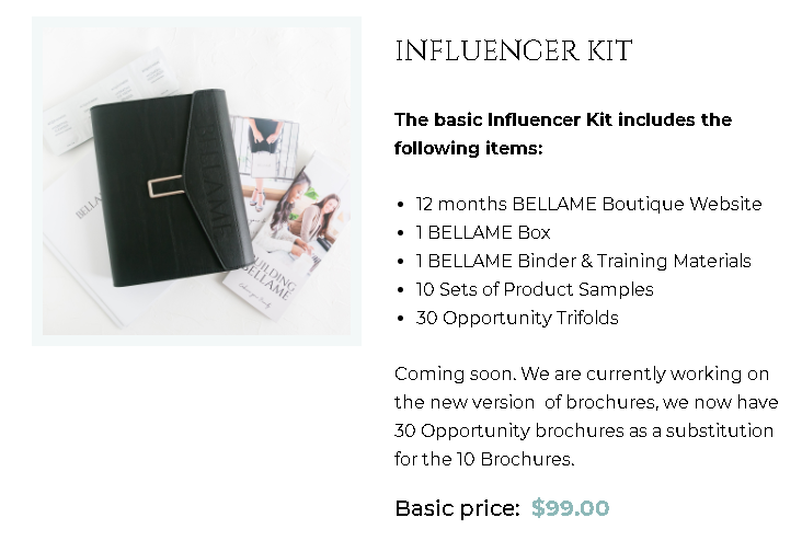 Bellame Scam Review - Influencer Kit